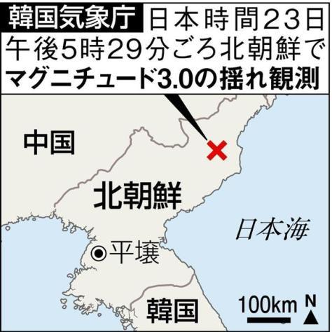 韓国気象庁:日本時間23日午後5時29分ごろ北朝鮮でM3.0の揺れを観測