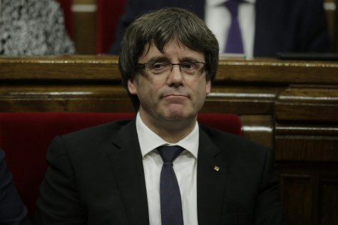 スペイン北東部カタルーニャ自治州のプチデモン州首相=AP