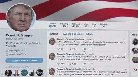 トランプ大統領 NBCテレビの放送免許剥奪の必要性に言及