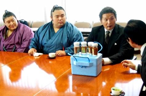 九州場所前、貴乃花部屋が宿舎を構える福岡県田川市の市役所を訪れた貴ノ岩(左)、弟弟子の貴景勝(中央)、貴乃花親方。貴ノ岩はこの1週間前に暴行を受けたとされる