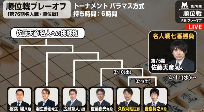 史上最多6人のプレーオフが開始 久保王将と豊島八段が対局/順位戦A級プレーオフ第1局 | AbemaTIMES