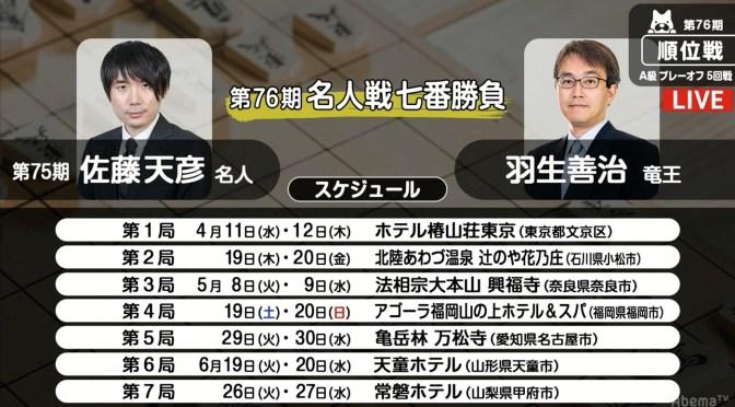 将棋・4月9日週の主な対局予定 11日から名人戦開幕 羽生善治竜王がタイトル100期目指し発進