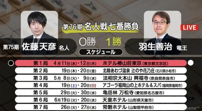 将棋・4月16日週の主な対局予定 名人戦第2局が19日から、羽生竜王が連勝か佐藤名人巻き返すか