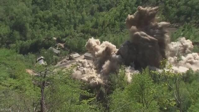 北朝鮮 核実験場爆破作業 外国メディアが撮影の映像公開 | NHKニュース