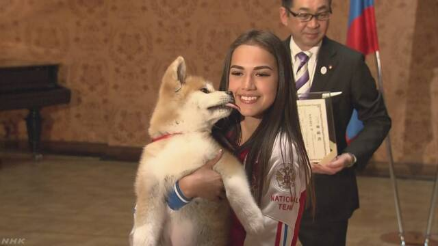 ザギトワ選手へ秋田犬の贈呈式 安倍首相も立ち会う モスクワ