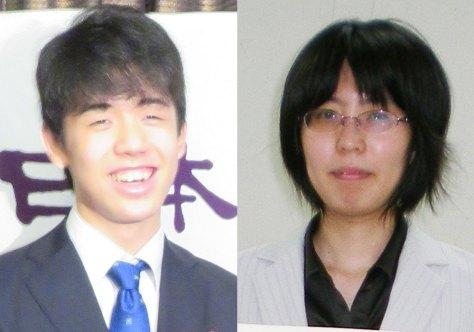 藤井聡太七段(左)と里見香奈女流四冠