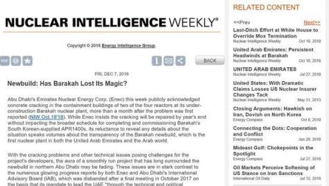 アラブ首長国連邦のクリステル・ヴィクトルソン連邦原子力規制庁(FANR)庁長が、米国のエネルギー分野専門誌「エネルギー・インテリジェンス」(EI)とのインタビューで、昨年3号機格納建物の壁でグリスの漏出が発見されたと明らかにした。写真は該当記事の一部//ハンギョレ新聞社