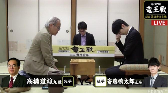 勝てば残留以上、負ければ降級… 斎藤慎太郎王座と高橋道雄九段が対局中/竜王戦2組昇決 | AbemaTIMES