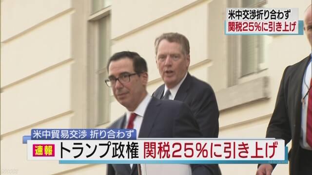 米中閣僚級貿易交渉折り合わず 関税引き上げ