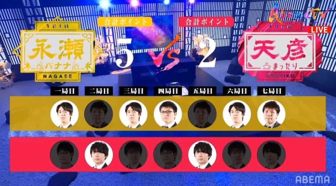 チーム永瀬が5勝2敗でチーム天彦に勝利|第3回AbemaTVトーナメント本戦T