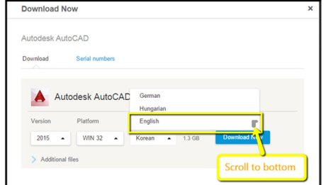 AutoCAD 2016 language selection