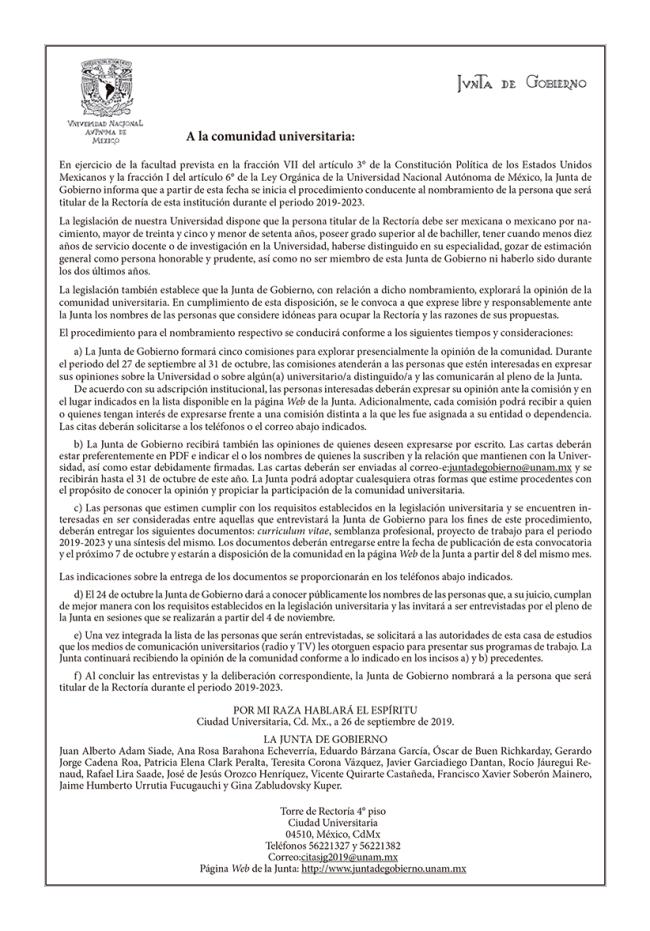 convocatoria rector2019
