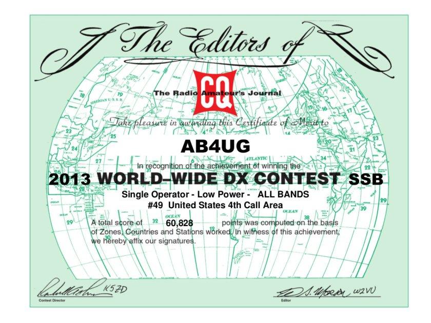 CQ WW SSB 2013 certificate