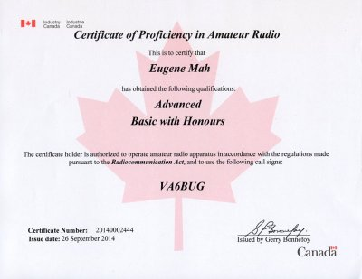 Canadian amateur radio certificate VA6BUG