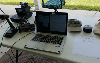 Radio and laptop set up for Field Day 2021.