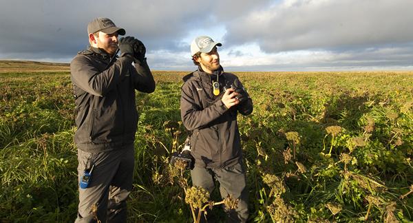 Scott Scheutte (left), and Doug Gochfeld on St. Paul Island.