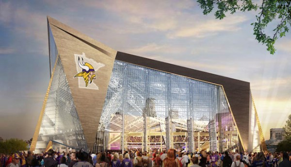 An artist's drawing of the completed Minnesota Vikings stadium.