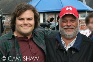"Greg Miller (right) on the set of ""The Big Year"" with Jack Black."
