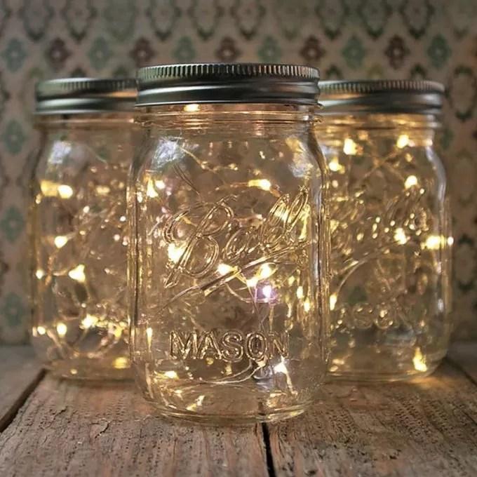 lampki w słoiku, światełka do ozdoby, świeczki