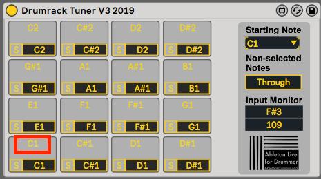 midi pitch note ableton live drumrack tuner