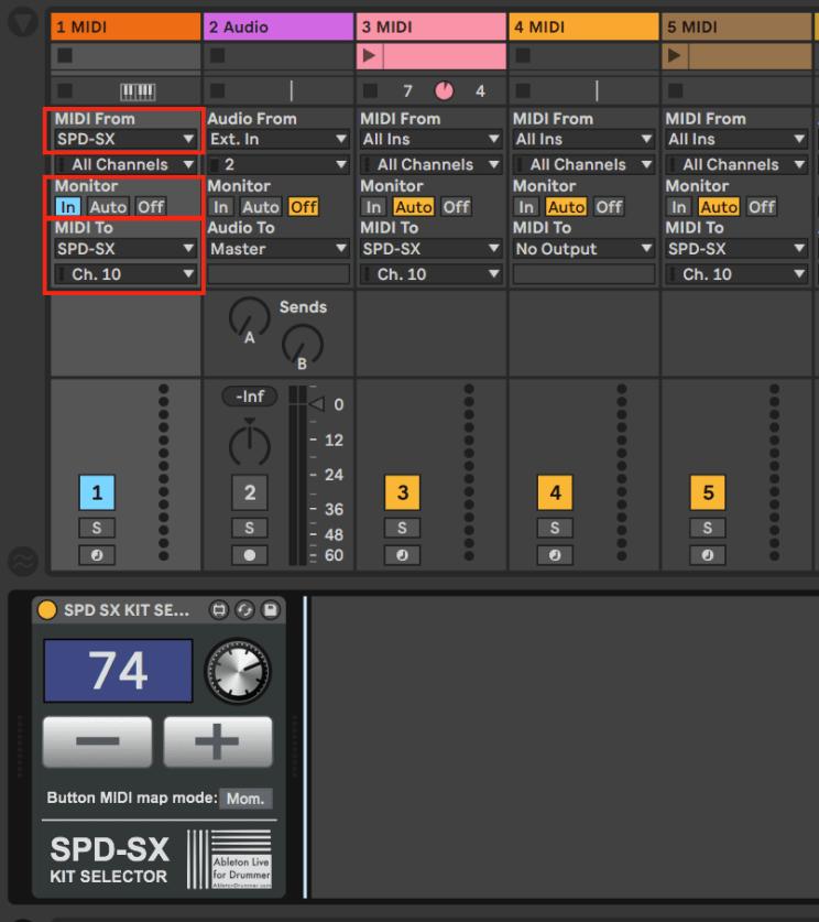 Switch kits on SPD-SX via Ableton Live.