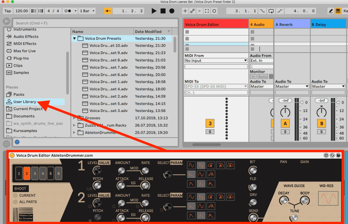 Store presets in Ableton Live user library