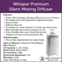 Whisper Premium Silent Misting Diffuser Info Graphic