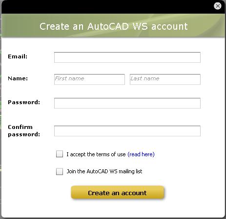 Creación de un nuevo usuario de AutoCAD WS