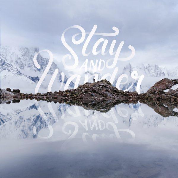 """""""Wordscape"""" - Lettering su fotografia di paesaggio montuoso realizzato da Stefan Kunz"""