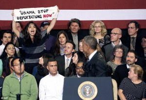 President Obama dealing with a heckler