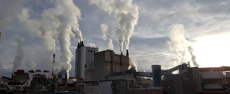 chaminés de fábrica expelindo fumaça