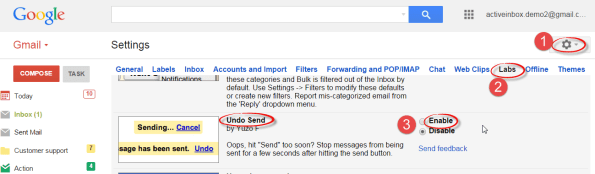 Enable Undo Send from Gmail settings