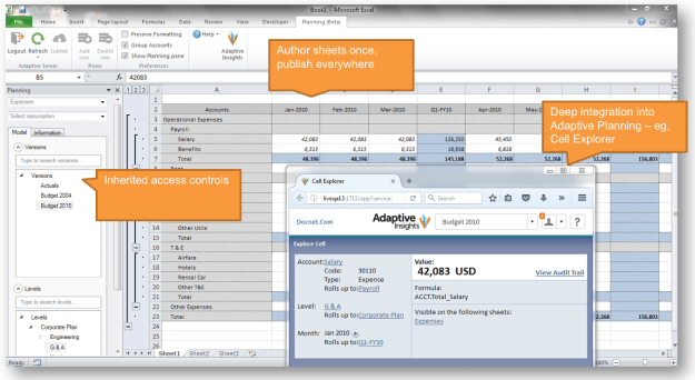 Figure 4: Excel interface for planning