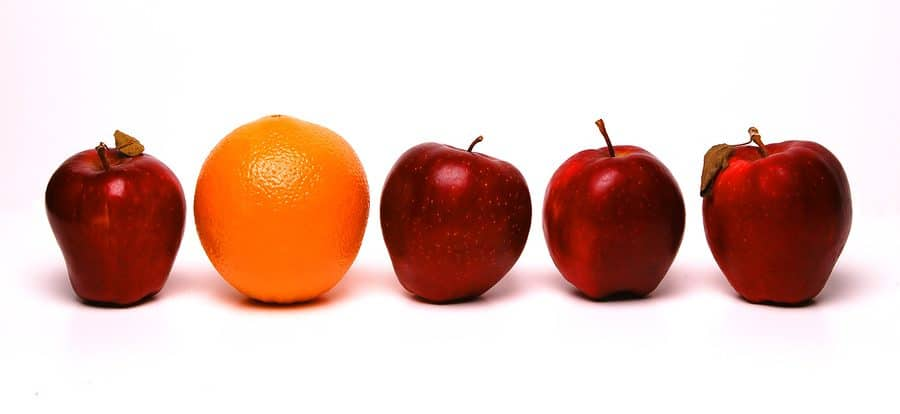 Comparing apples and oranges - a line of apples with one orange