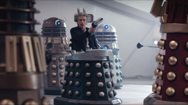 The Doctor on Dalek's chair in The Witch's Familiar