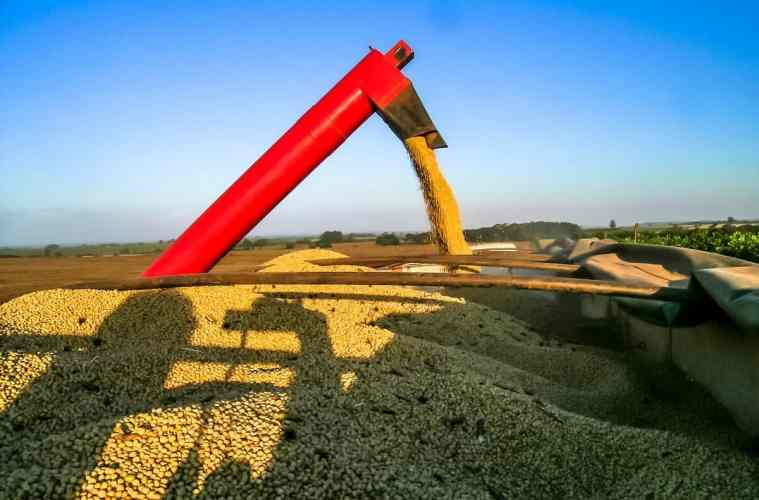 como é feita a colheita de soja