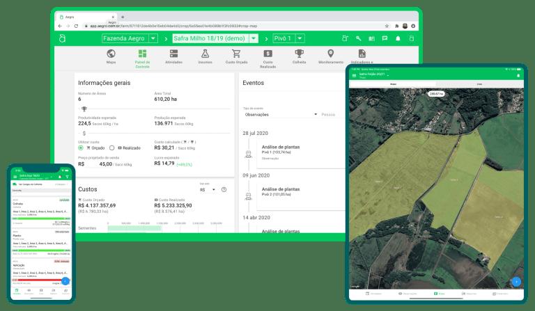 Software de gestão agrícola Aegro para computador, celular e tablet