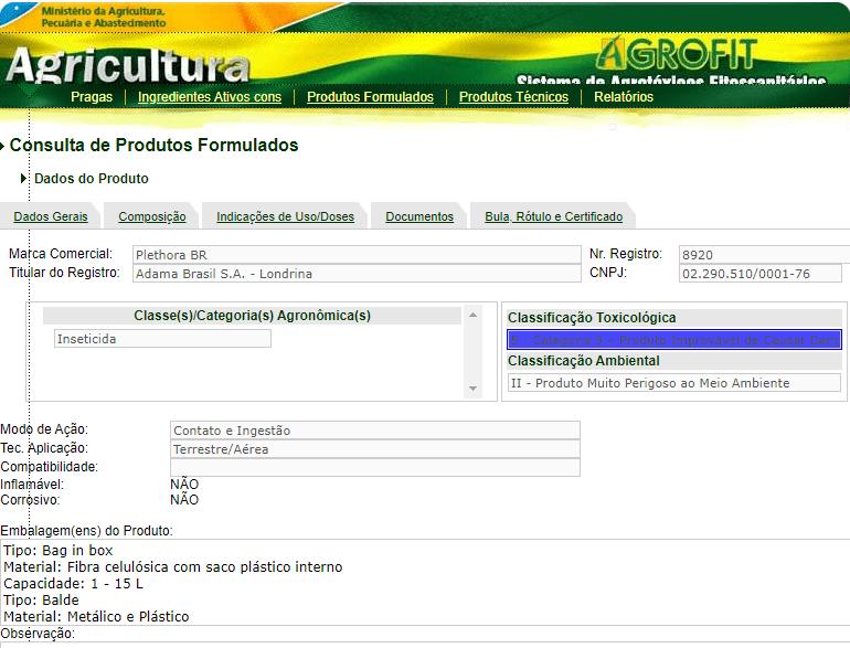 Informações do produto Plethora no site do Mapa