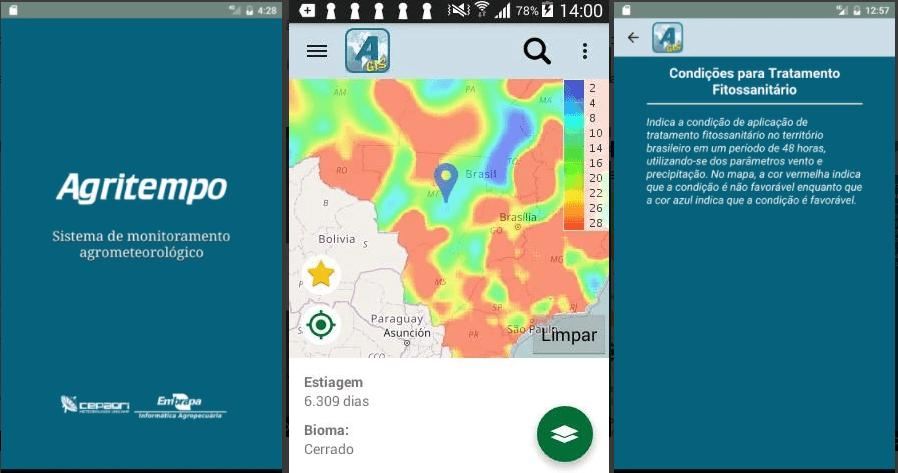 demonstração do aplicativo Agritempo