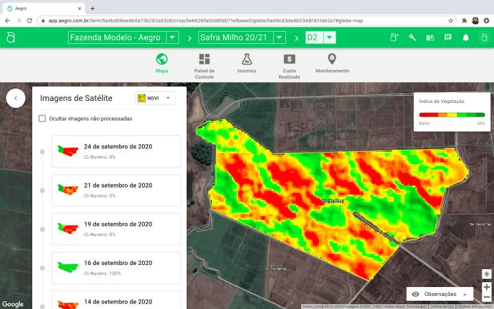 captura de tela do Aegro Imagens com mapas e imagens de satélite e vegetação