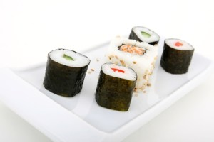 Japanese sushi seafood rolls with rice and sesame