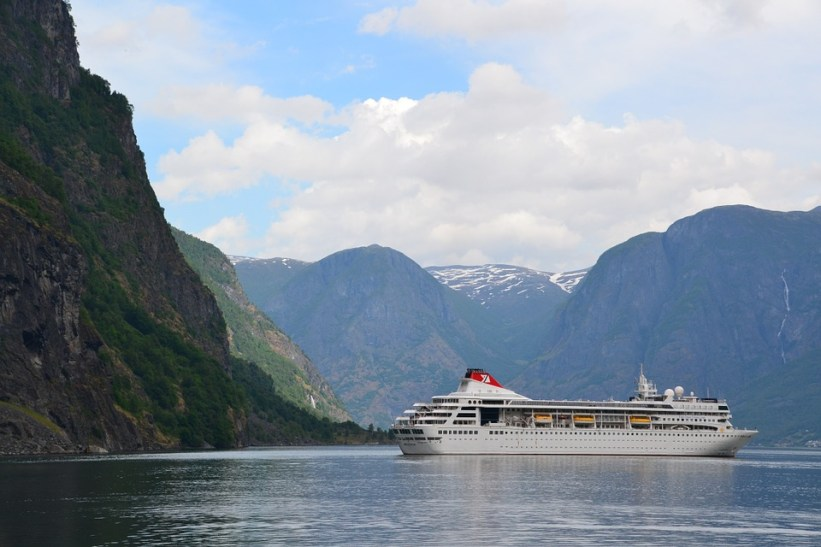 Cruise Ship in Mountains - National Plan Cruise Month