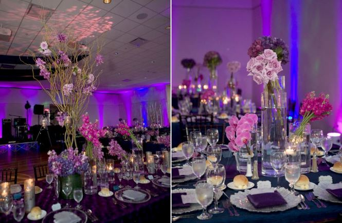 Pink Rose Fl Arrangement Purple Wedding Centerpieces