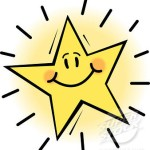 Close-up of a bright star with smiley face