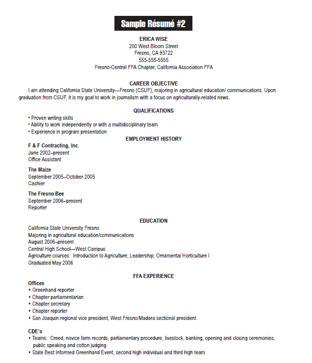 On Campus Student Employment Resumes - Resume Examples