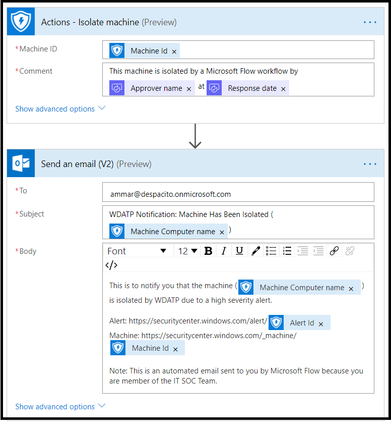 MS Flow and MS Defender ATP Integration