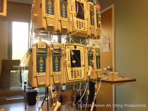Heart and function monitors after surgery in intensive care. Photo by Mel.