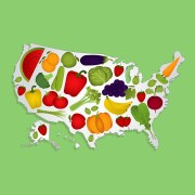 Fruits and Vegetables over US map