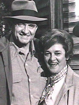 The late author Margaret Anne Barnes together with Johnny Cash, who portrayed her MICC hero Lamar Potts in the made-for-TV movie version