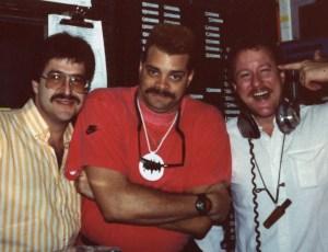 L-R.MikeMcCannSinbadGatorOnAirAtQ-93RadioFall1989AirliftProductionsNOLA